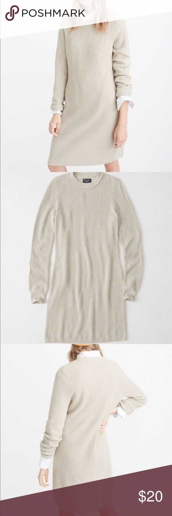 Abercrombie Cream Sweater Dress Soft sweater dress with textured knit body, long sleeves, straight hem and slim fit. 55% cotton, 25% viscose, 15% nylon, 5% cashmere. Hand wash, lay flat to dry. No pilling or stains. Size large (12-14). Price firm. Abercrombie & Fitch Sweaters Crew & Scoop Necks