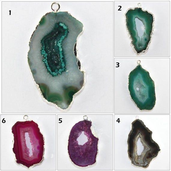 Green Natural Geode Druzy Silver Plated Earring Pendant Connector Make DIY
