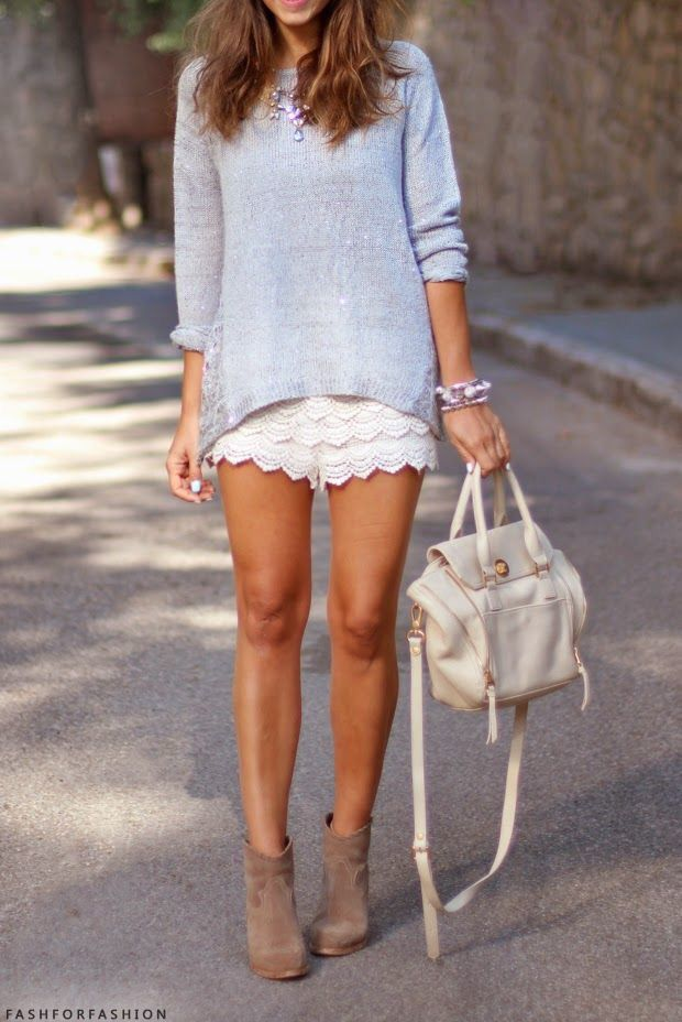 I like this outfit, I like the detail in the shorts and the casual drape of the lightweight sweater. I would probably want to wear it with sandals, not boots - but maybe the boots is what pulls this outfit together?