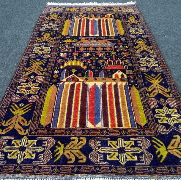 Orient Teppich Afghan 146 x 85 cm Belutsch Dunkelblau Baluch Carpet Rug Tappeto