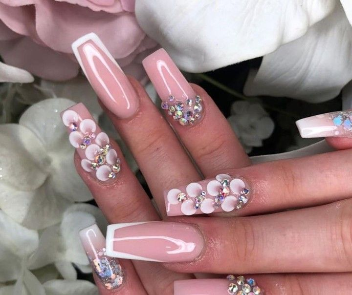 Guuurrrlll Those Nails Where Did You Get Them Done Don T Miss Out On The Beauty Industries Best Kep Swarovski Nails Pink Nails 3d Flower Nails