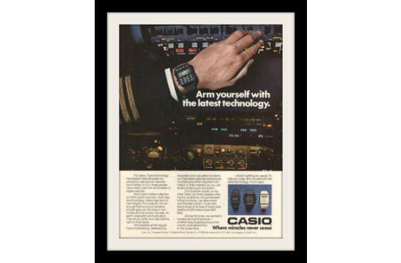 "1985 Casio Digital Calculator Watch Ad ""Arm Yourself"" Vintage Advertisement Print"