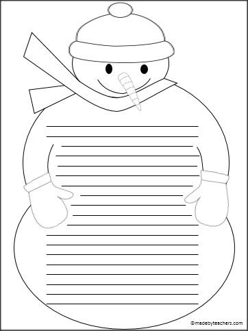 This is free snowman writing stationary.
