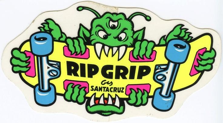 VTG SANTA CRUZ RIPGRIP RIP GRIP SMA SKATEBOARD OLD SCHOOL NOS SKATE STICKER 80's