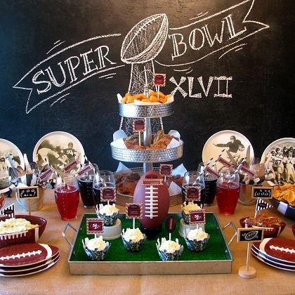 Chalkboard Football Party-vintage football images?  Also like the galvanized pieces in this shot