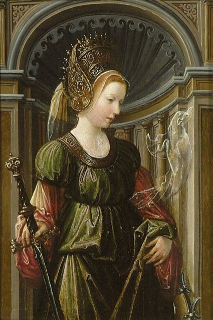 Flemish, early 16th century. St Catherine of Alexandria. Possibly cut down from the wing of an altar-piece. The influence of Jan Gossaert (to whom it was once attributed) is evident in the facial type, architectural setting and rich, jewelled clothing but it is not of sufficient quality to be by Gossaert himself and must have been painted in the early 16th century by one of Gossaert's Antwerp followers.