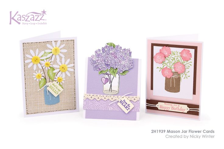 This project will show you how to create three pretty cards featuring the Mason Jar stamps. You will learn how to create three styles of flowers using different techniques.