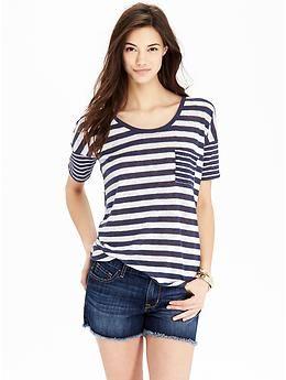 Image result for navy stripe boyfriend Tee