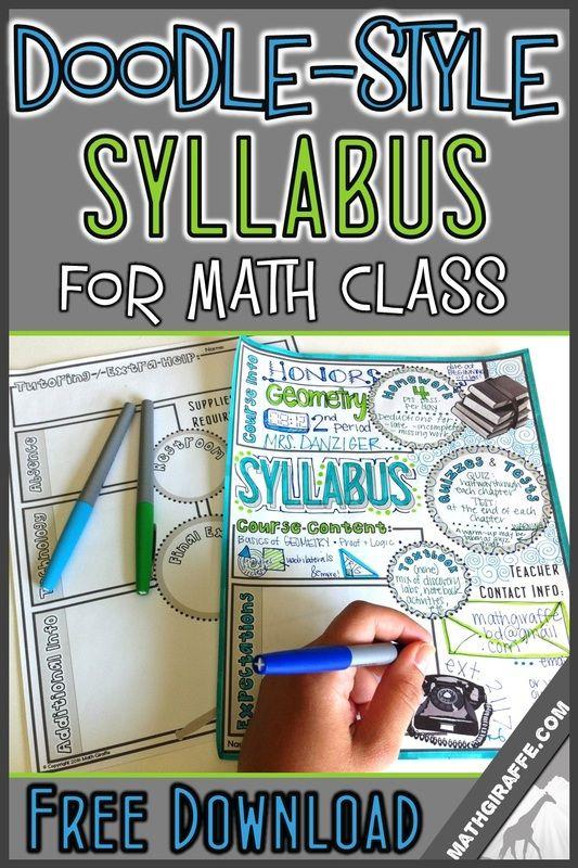 Syllabus for Math Class (Doodle - Style!): Free Printable | Math Giraffe - The Math Classroom: Blog | Bloglovin'