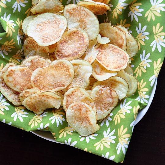 Pinner says: When we first discovered microwave potato chips four years ago, it was nothing short of a revelation. Even now, the fact that a short spin in the microwave can transform slices of potato into crispy (truly crispy!) chips without needing a drop of oil still seems like magic. Here's how to make them.