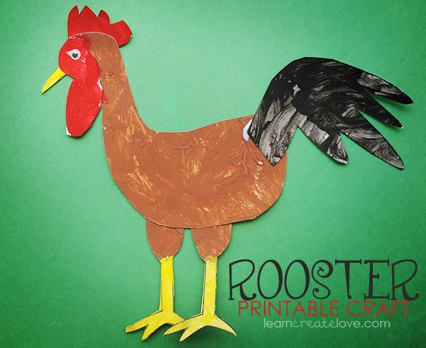 """Printable Rooster Craft. Try this with """"Good Morning, Mr. Rooster!"""" and """"The Animals On The Farm"""" from Super Simple Songs - Animals CD."""
