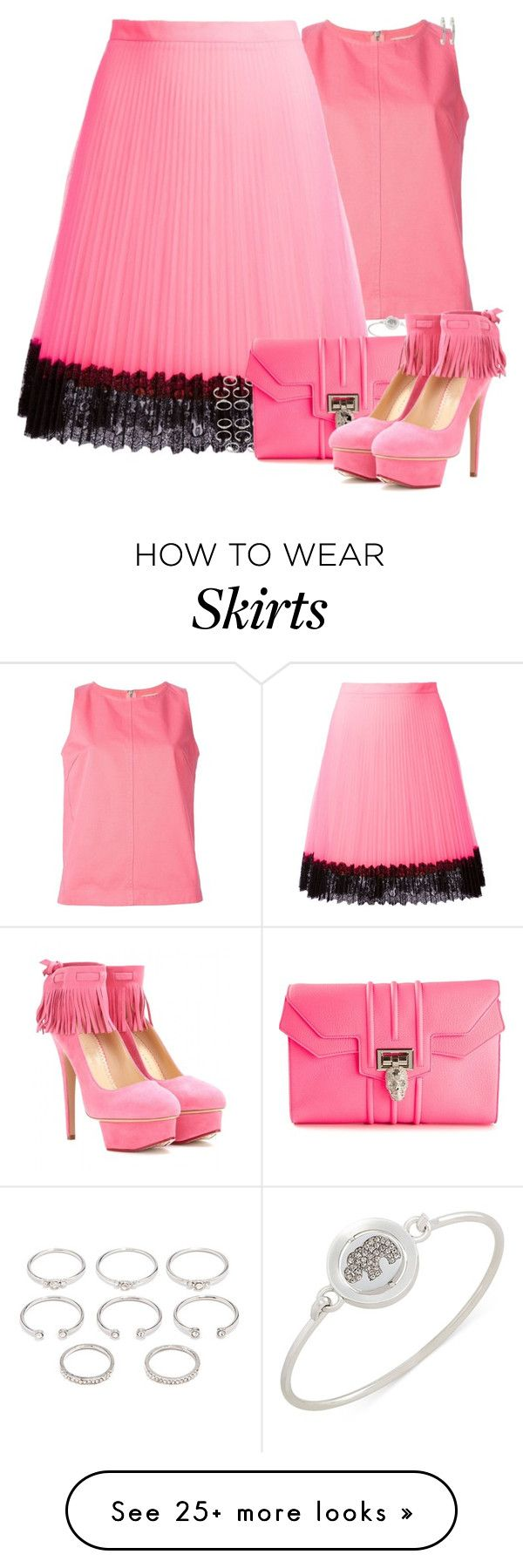 """""""Pink October: Breast Cancer Awareness Month"""" by mad-one on Polyvore featuring YMC, Carolee, Christopher Kane, Forever 21, Philipp Plein, Charlotte Olympia and Forever New"""