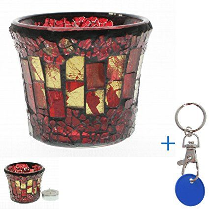 Balcon photophore en verre mosaïque - 1153 petit mosaikglas jardin lumière bougie chauffe-plat rouge