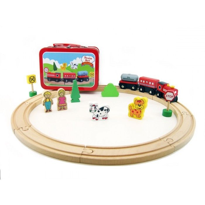 Wooden Train Set in Tin Carry Case at www.kidstoystoyou.com.au