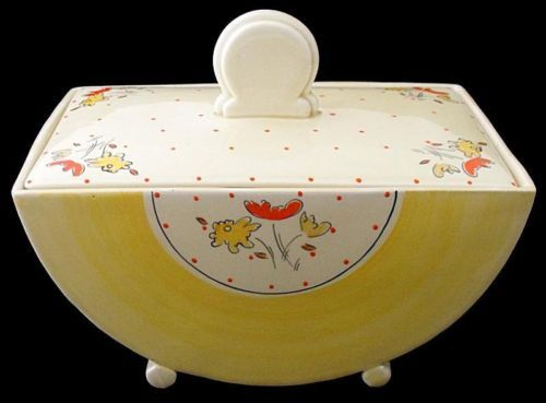 Superb Clarice Cliff Bizarre Yellow Bon Jour Tureen And Cover - 1930's Art Deco