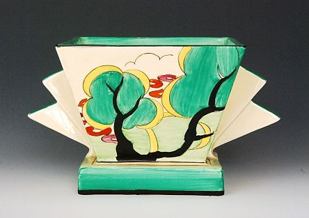 Clarice Cliff - Green Erin - A shape 515 vase circa 1933 hand painted with a stylised tree and flower landscape between green and black banding, Bizarre mark, height 12.5cm