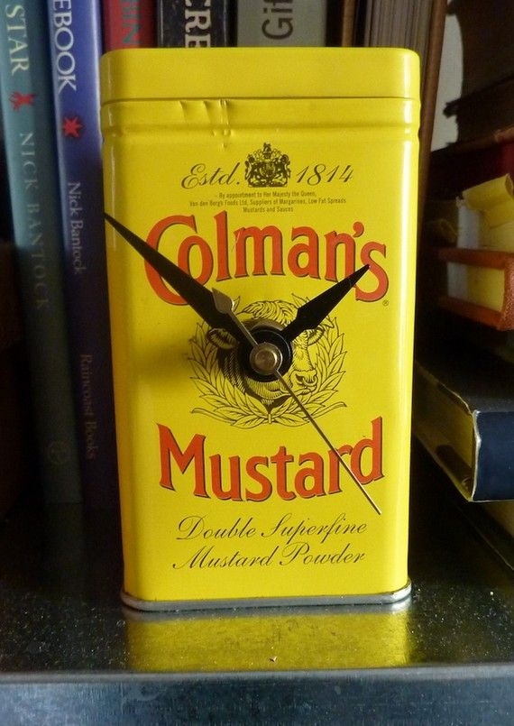 Once I had finished with the mustard in this cute Colman's Mustard advertising tin, I wondered what to do with it. Ah ha, thought I, why not a clock!