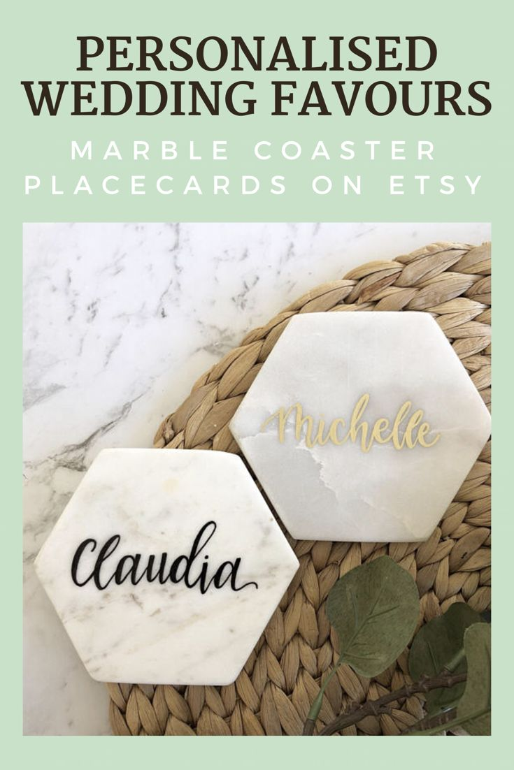 Personalised Marble Coaster Place Cards / Name Place Cards / Modern Calligraphy / Hand Lettered / Party / Wedding / Wedding Favour. #wedding #favour #placecards #affiliate #marblecoaster