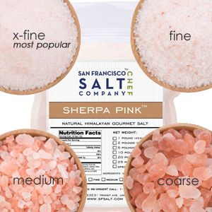 Sherpa Pink Gourmet Salt - X-Fine for Cooking and Fine for Bathing.  Free shipping over $20 or free shipping on the 5 oz. cooking sample size.  San Francisco Salt Co.