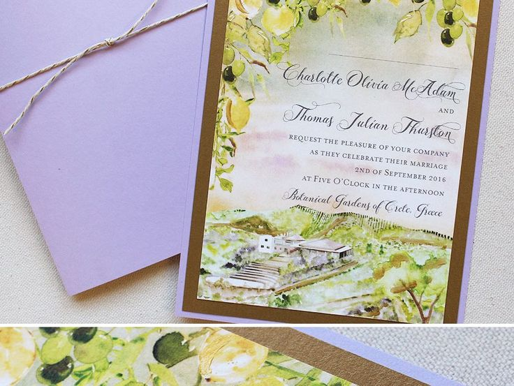 Olive Oil Vineyards In Italy, Watercolor Wedding Invitation Illustration.  #italyweddingideas #italydestinationwedding #