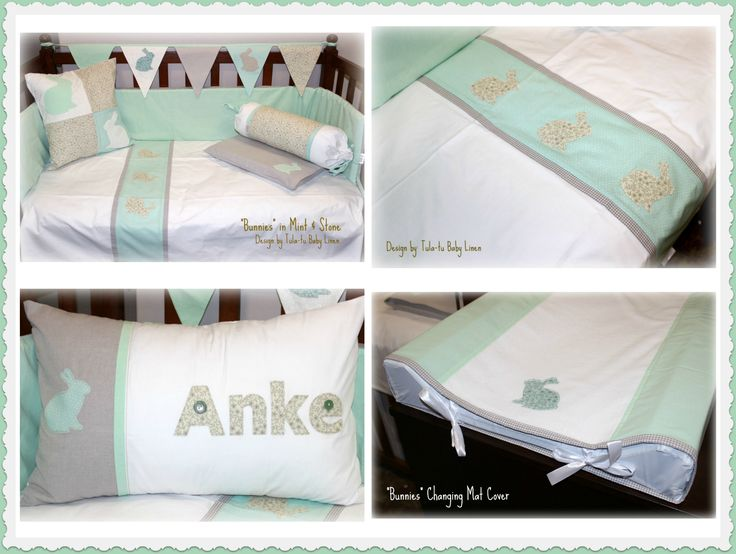 Bunny Cot / Nursery Linen in white, stone & mint designed by Tula-tu Baby Linen: www.tulatu.co.za #Cotlinen #Nurserylinen