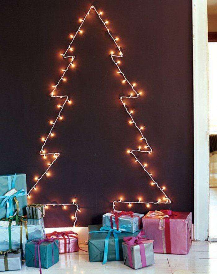 Weihnachtsbaum basteln Lichterketten an der Wand