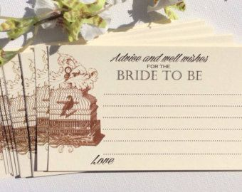 Starts At 30 Rustic Wedding Advice Cards For Bride And Groom