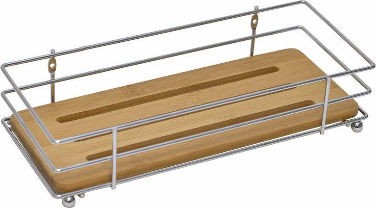Evideco  Bath Metal Wire Shelf Basket Bamboo Board Chrome Free Standing
