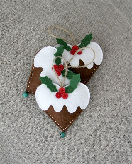Value pack of 3, Christmas gingerbread hearts with a green bell, lavender | Handmade by Plushka | madeit.com.au