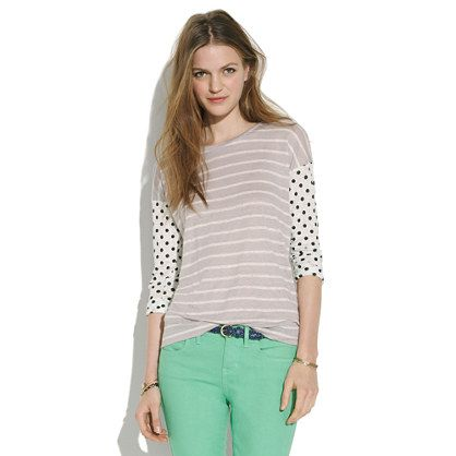 MADEWELL easy tee in dots & stripes - $49