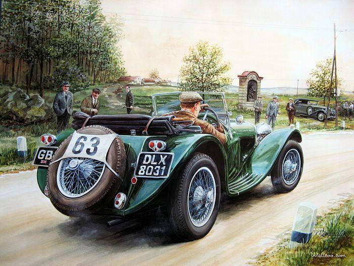 Vintage Cars and Racing Scene, Automotive Art of Vaclav Zapadlik - Automotive Art : Vintage