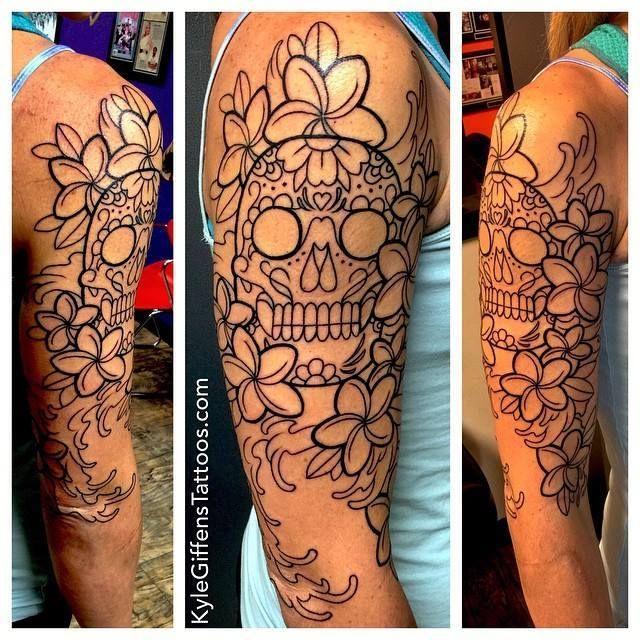 sugar skull half sleeve tattoos ideas - Google Search