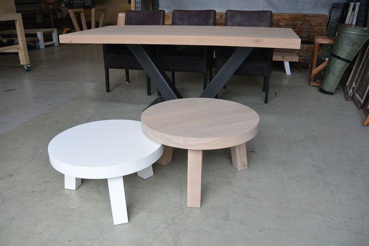 Ronde massief eikenhouten salontafels,elke kleur/ hoogte en diameter is mogelijk!