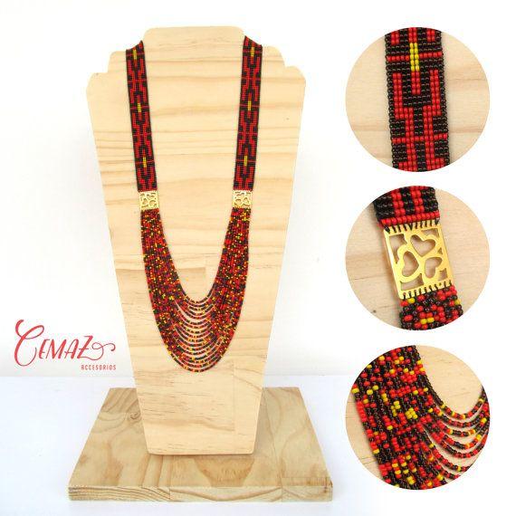 Items similar to Collar tejido en telar, mostacillas en negro rojo y dorado con placa  // Beadwork necklace on loom, black red and gold beads on Etsy