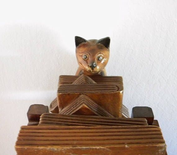 Vintage Mandalay Box Hand-Crafted Wooden Statue of a Siamese
