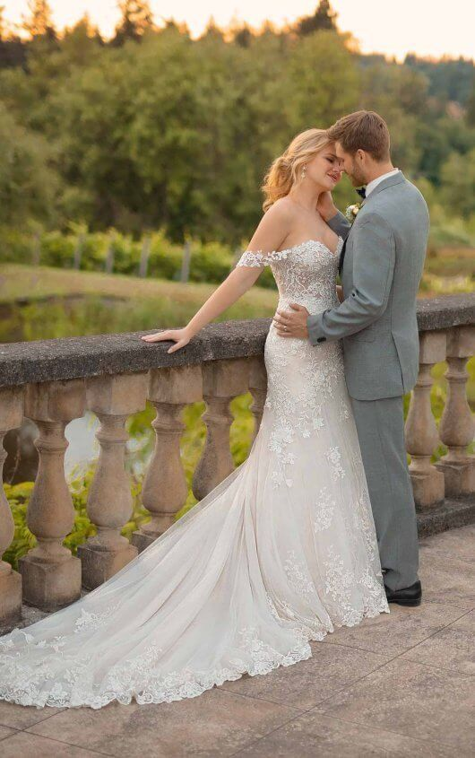 D2642 Silver Embroidered Wedding Dress with Off-the-Shoulder Straps by Essense of Australia