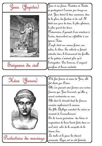 Cartes des dieux grecs