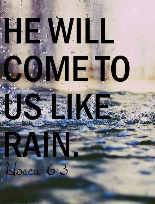 """Hosea- """"Let us acknowledge the LORD; let us press on to acknowledge him. As surely as the sun rises, he will appear; he will come to us like the winter rains, like the spring rains that water the earth."""""""