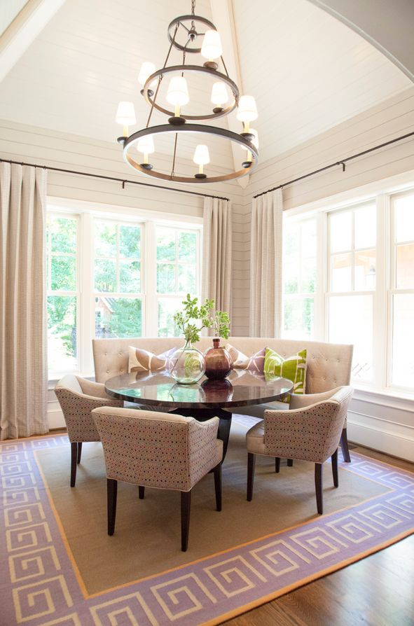 Custom Curved Banquette Dining Room Neutral Tones With Round Table I Might Like A