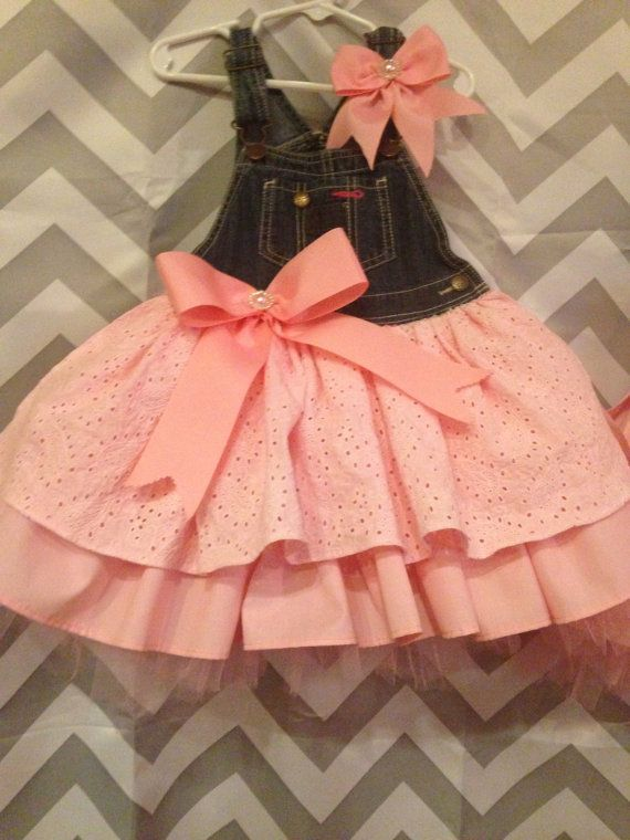 Pink overall tutu dress by AnnabelliesBoutique on Etsy