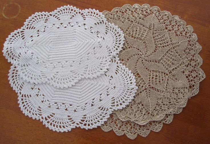 Two Sets of Vintage Crochet / Knit Doilies in Antiques, Textiles, Linens, Lace, Crochet, Doilies | eBay SELLER ID: kathy_a1Two Sets of Vintage Crochet / Knit Doilies