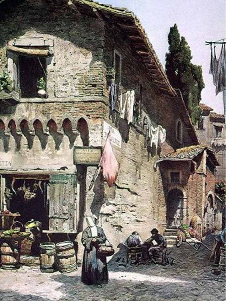 """Medieval house on Della Lungaretta Street, Italy"" (1896) By Ettore Roesler Franz, from Italy (1865 - 1907) watercolour on paper  Private Collection, Italy"