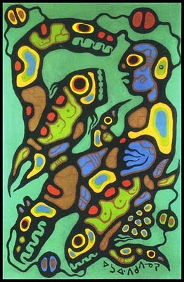All paintings ©  by Norval Morrisseau/:  The presented are 7 out of 12 paintings which are part of the forensic report analysis by Mr. Brian Lindblom of 'The Document Examination Consultants Inc.' - Forensic Expert & Document Examiner; Report dated January 24th, 2002.
