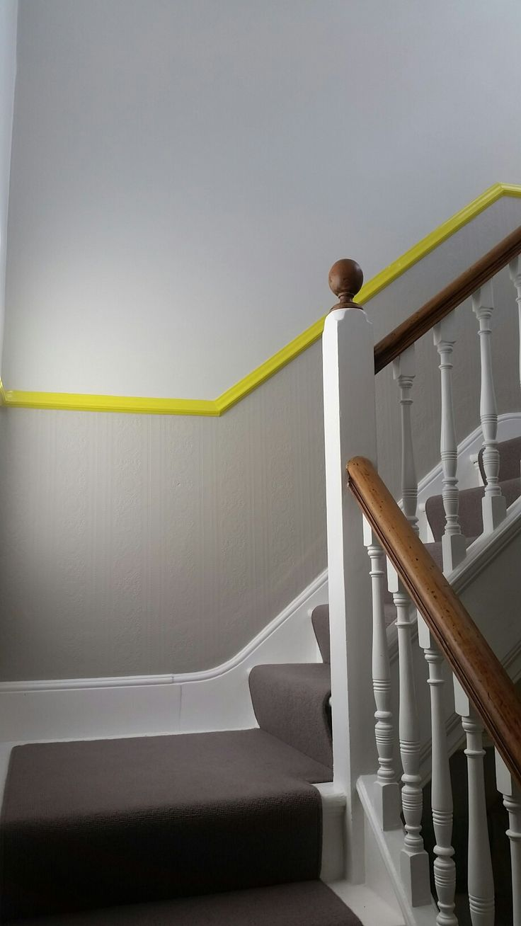 Grey stairs with a zap of yellow. Farrow and ball yellow cake, Ammonite and Purbeck Stone. #farrowandball