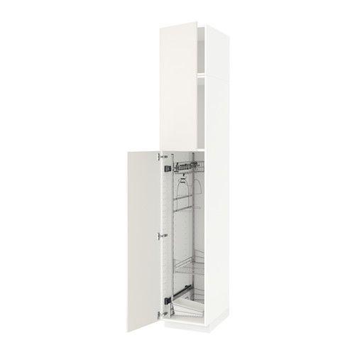 METOD Hochschrank mit Putzschrankeinr. - weiß, Veddinge weiß, 40x60x240 cm - IKEA