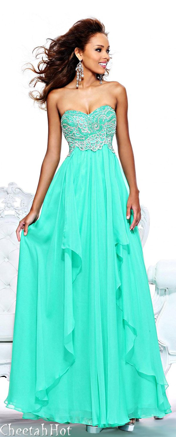 Very pretty teal turquoise strapless prom dress