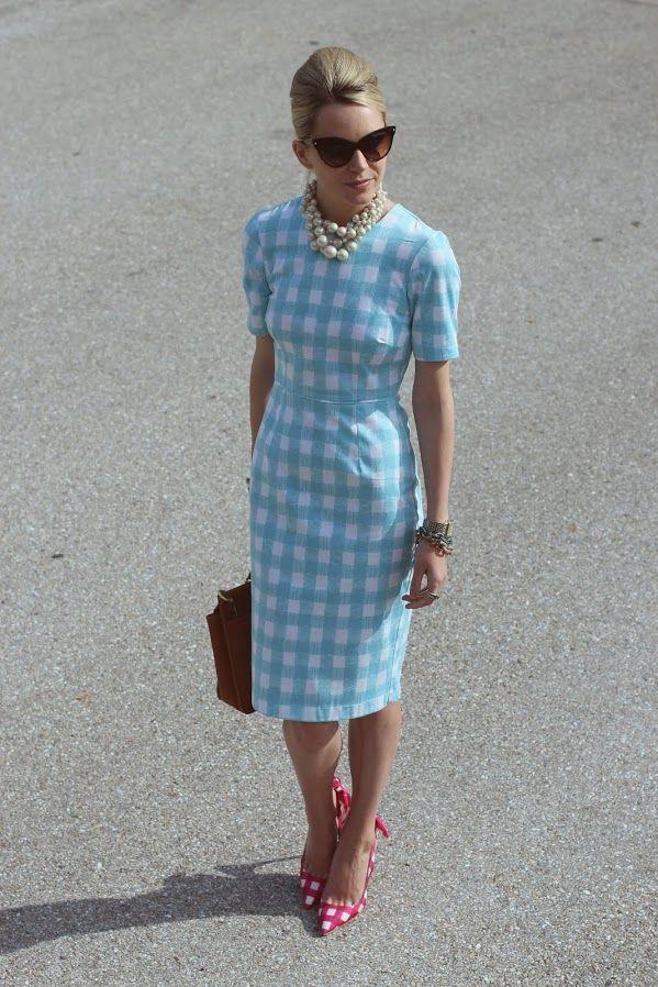 Gingham--Dress: ASOS. Shoes: Miu Miu. Purse: Coach. Sunglasses: Dior. Necklace: Banana Republic. . Jewelry: Plukka c/o, David Yurman, Michele.