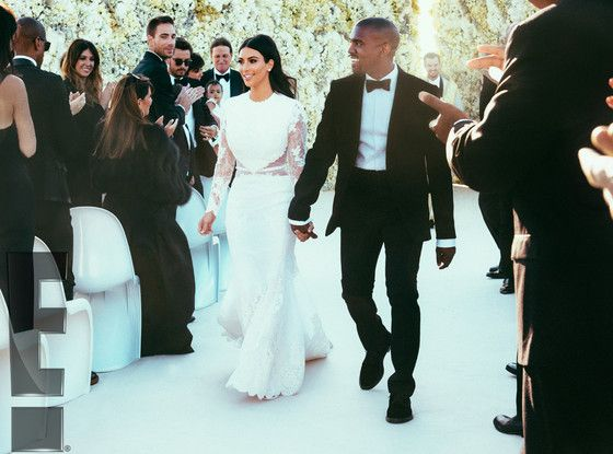 Kim Kardashian and Kanye West from The Most Over-the-Top Celebrity Weddings | E! Online