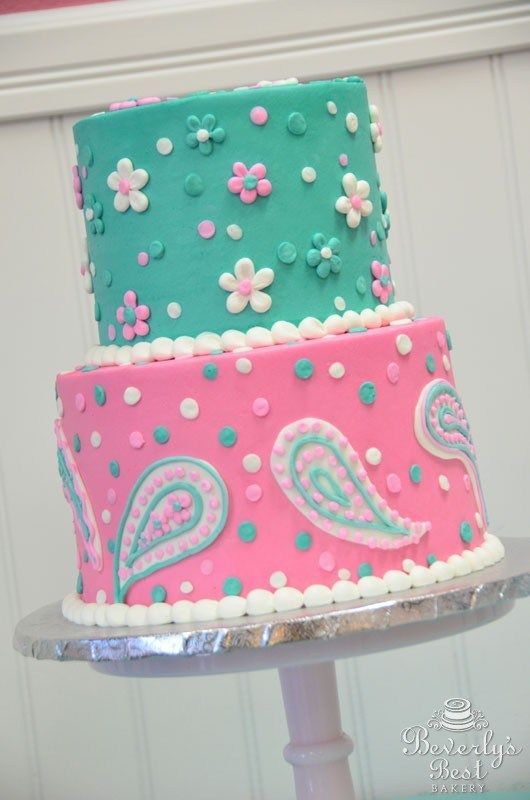 Piped Flower and Paisley Print Cake by Beverly's Best Bakery