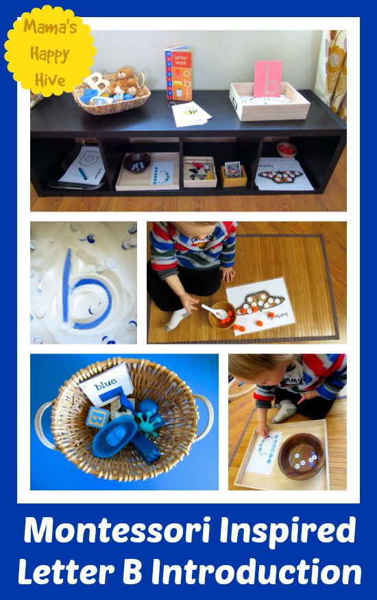 Enjoy 10 Montessori Inspired Letter B Introduction activities for a toddler. There are matching, transfer, fine motor, sensorial activities and more. - www.mamashappyhive.com